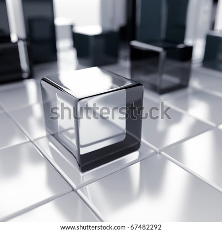 Abstract glass and blue metallic cubes on a white - stock photo