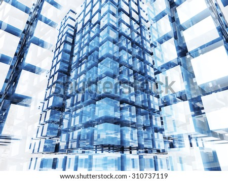 Abstract Glass Cube Blocks Technology Background. 3d Render Illustration - stock photo