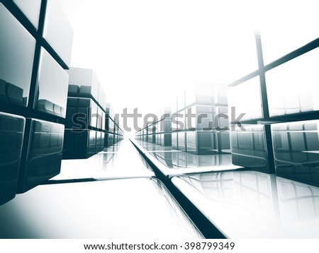 Abstract glass 3d blocks background. 3d render illustration - stock photo