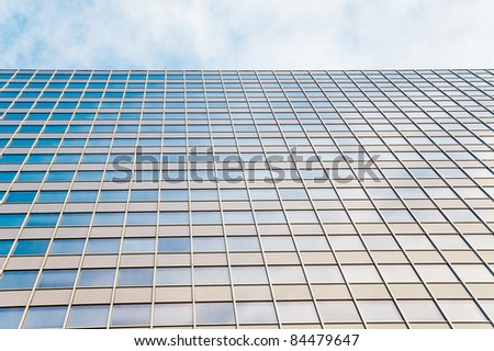 abstract glass skyscraper. Glass wall of office buildings. modern glass silhouettes. Modern office. - stock photo