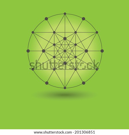 Abstract global network connections icon - Circle grids and nodes on green background and text area - stock photo