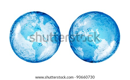 abstract globe from water isolated on white - stock photo