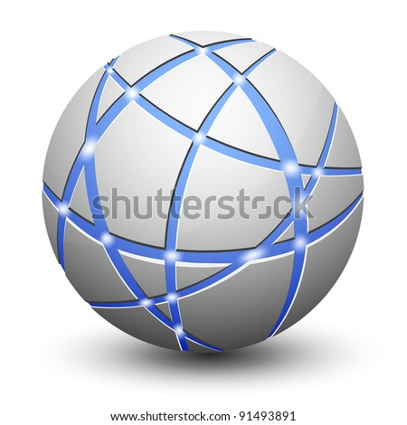 Abstract Globe Icon. Communication and Network Concept. - stock photo