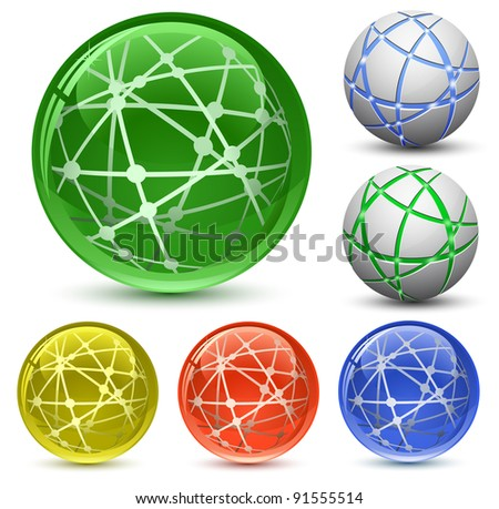 Abstract Globe Icon Set. Communication and Network Concept