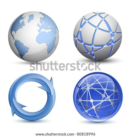 Abstract Globe Icons Set. Raster version - stock photo