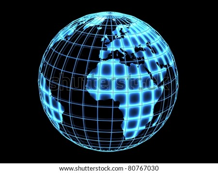 Abstract Globe with neon light, 3D render. - stock photo