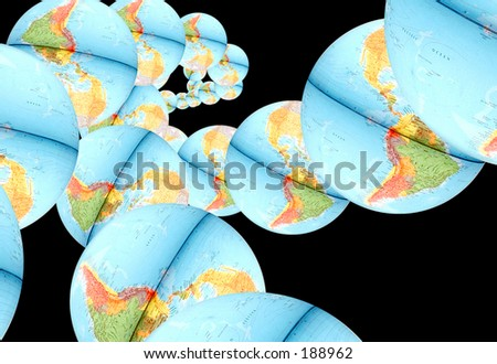 Abstract Globes over black - stock photo