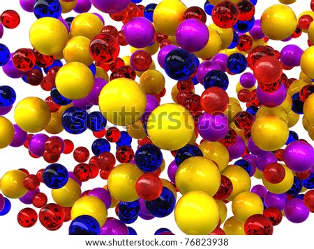 Abstract glossy orbs isolated over white background - stock photo