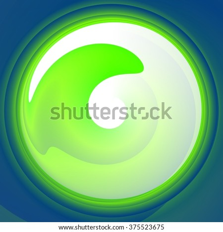 Abstract glossy turquoise green white swirl shape - computer generated fractal design