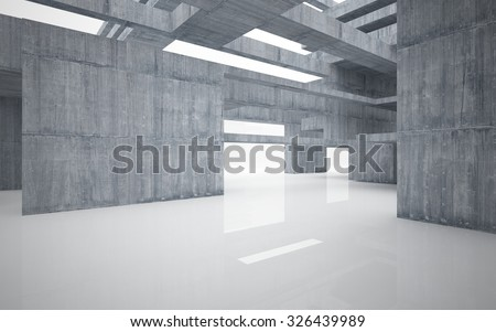Abstract glossy white interior with concrete structure.3D illustration. 3D rendering - stock photo