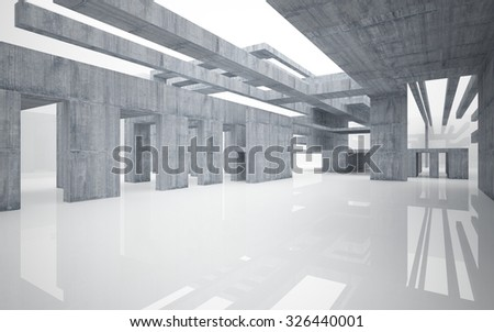 Abstract glossy white interior with concrete structure.3D illustration. 3D rendering
