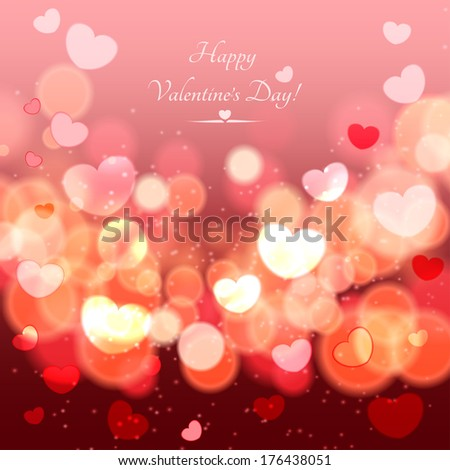 Abstract Glow Soft Hearts for Valentines Day . Raster version. - stock photo