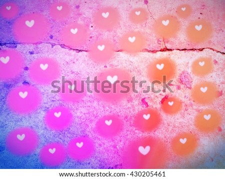 Abstract Glow Soft Hearts on grunge background for Valentines Day Background Design. - stock photo