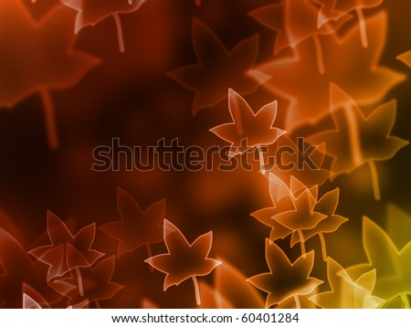 abstract glowing autumn leaf on a colorful background