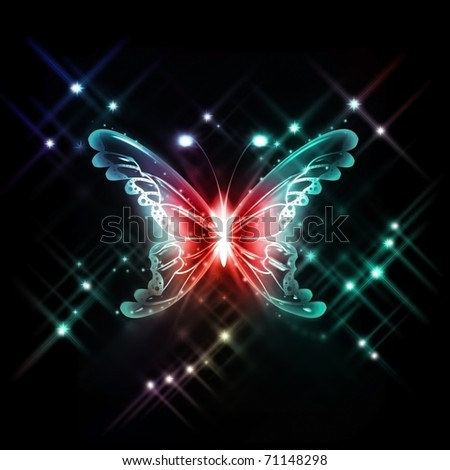 abstract glowing butterfly on a dark background - stock photo