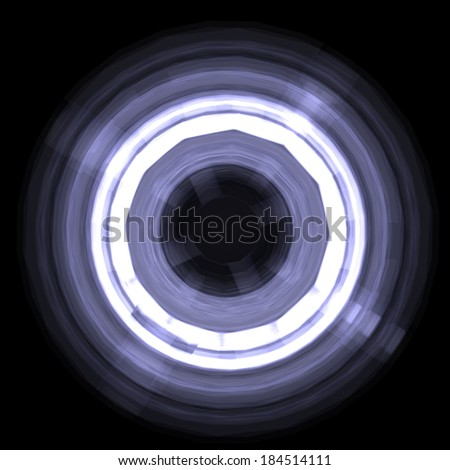 Abstract glowing circle. Design element. Isolated on a black background