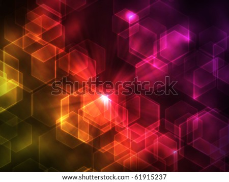 abstract glowing figures on a colorful background