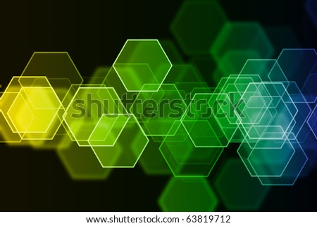 abstract glowing figures on a colorful background - stock photo