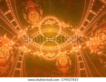 Abstract glowing fractal background with a detailed circular pattern in orange and yellow colors