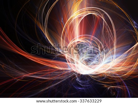 Abstract glowing futuristic background. Bright color pattern with lighting effect for creative design. Shiny dynamic decoration for cover booklet, flyer, poster for night disco party. Fractal artwork - stock photo