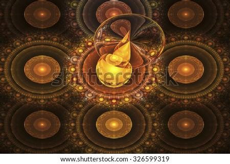 Abstract glowing spheres with water drop on black background. Computer-generated fractal in orange and yellow colors. - stock photo