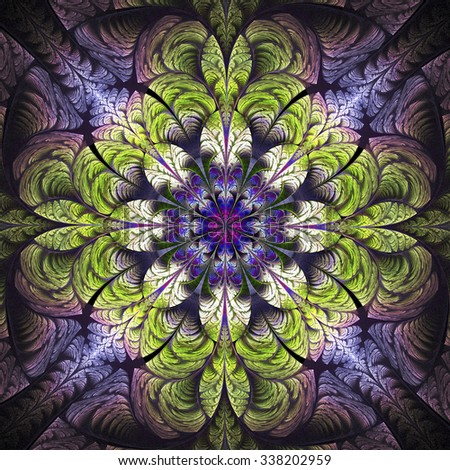 Abstract glowing stained glass with floral ornament on black background. Symmetrical pattern. Computer-generated fractal in blue, violet, green, white and rose colors. - stock photo