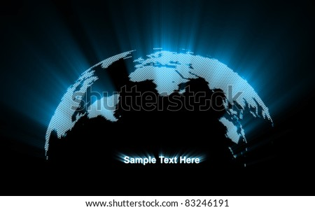 Abstract Glowing World Map - stock photo