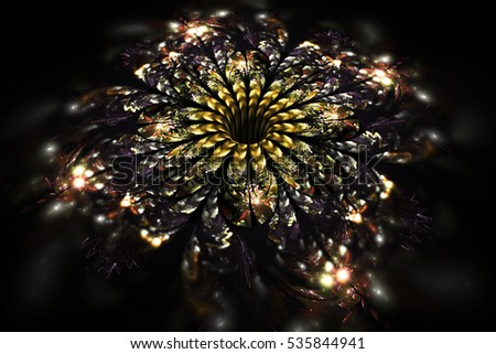 Abstract glowing yellow and beige flower on  black background. Fractal art. 3D rendering.