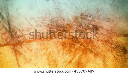 abstract gold and blue background with paint splashes and marbled texture, impressionism style paint drips mixed with watercolor paint blotches - stock photo