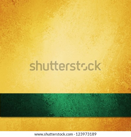 abstract gold background green ribbon or luxury Christmas background, anniversary, or st patricks day, fancy elegant background gold paper with vintage grunge background texture, luxurious yellow wall - stock photo