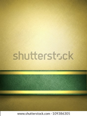 abstract gold background with beige brown color and rich green ribbon with gold accent on elegant Christmas background template for holiday decoration brochure of blank stripe on border frame for text - stock photo