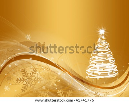 abstract gold christmas three background
