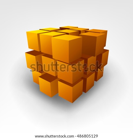 Abstract Gold cube 3D Illustration