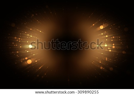 Abstract gold fractal composition. Magic explosion star with particles