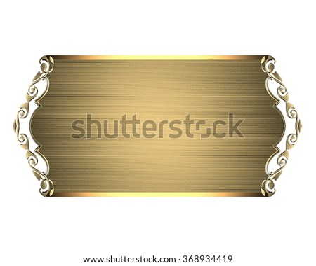 Abstract gold plate. Element for design. Template for design. copy space for ad brochure or announcement invitation, abstract background.