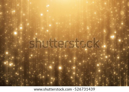 Abstract golden background. Merry Christmas template. Glitter lights or bokeh
