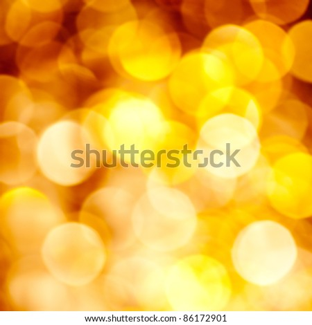 Abstract golden blurred lights christmas background - stock photo
