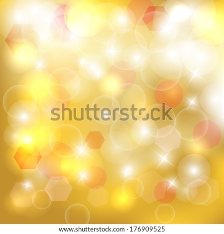 Abstract golden bokeh background. Magic background glitter bokeh lights. Defocused lights background with space for your text.  - stock photo