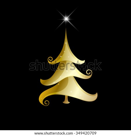 Abstract golden christmas tree on black background. Merry Christmas card. Raster copy - stock photo