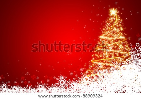 Abstract golden christmas tree on red background