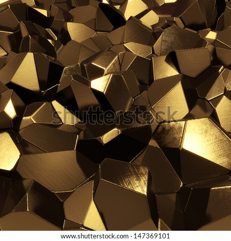 Abstract golden crystals - computer generated 3d pyrites - stock photo