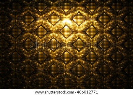 Abstract golden detailed geometrical ornament on black background. Fantasy fractal texture. - stock photo