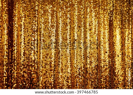 Abstract golden glitter background. Festive background with copy space, hanging curtain - stock photo