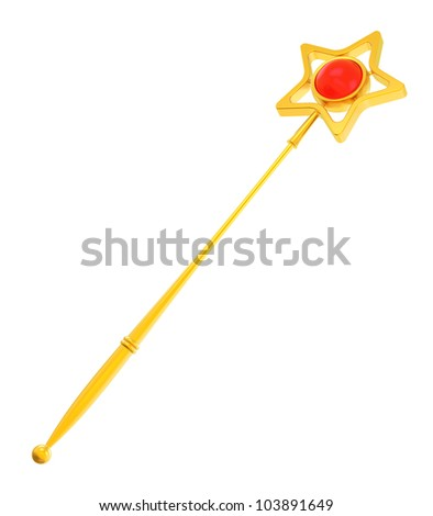 Abstract golden magic wand - stock photo