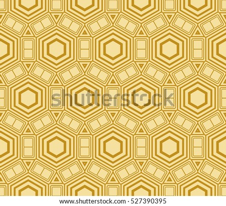 Abstract golden modern seamless pattern with random shape hexagon. Raster copy illustration. Beautiful background. Texture of gold color