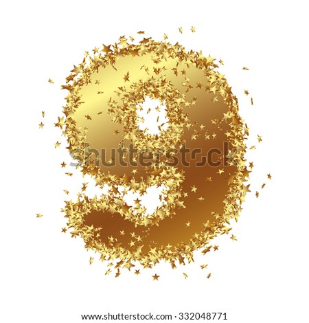 Abstract Golden Number with Starlet Border - Nine - 9 - Birthday, Party, New Years Eve, Jubilee - Number, Figure, Digit - Graphic Illustration Isolated on White Background - stock photo