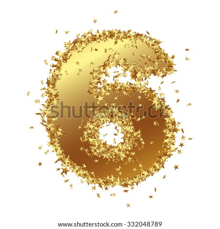 Abstract Golden Number with Starlet Border - Six - 6 - Birthday, Party, New Years Eve, Jubilee - Number, Figure, Digit - Graphic Illustration Isolated on White Background - stock photo