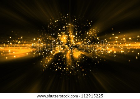 abstract golden star background - stock photo