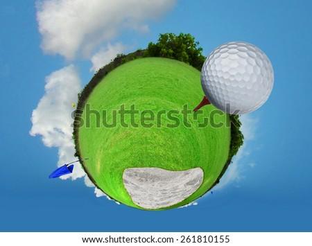 Abstract golf ball on tee - stock photo