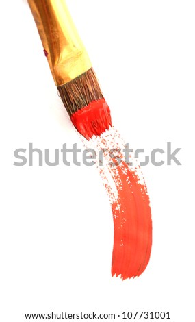 Abstract gouache paint and brush, isolated on white - stock photo